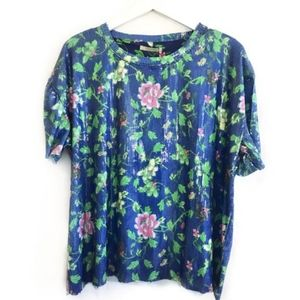 ZARA TRAFALUC Floral Sequins Tee Size M